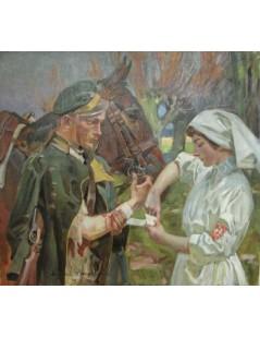 Tytuł: Ułan i siostra Białego Krzyża, Autor: Wojciech Kossak