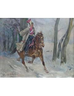 Tytuł: Ułan na koniu, Autor: Wojciech Kossak