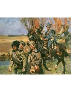 Tytuł: Ułan prowadzący jeńców rosyjskich, Autor: Wojciech Kossak