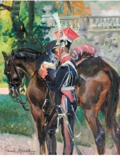Tytuł: Ułan przy koniu, Autor: Wojciech Kossak