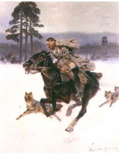 Tytuł: W ucieczce przed wilkami, Autor: Wojciech Kossak