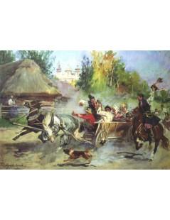 Tytuł: Wesele krakowskie, Autor: Wojciech Kossak