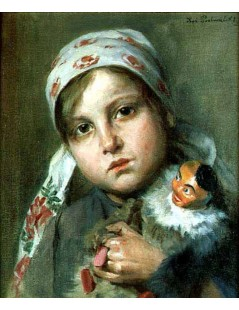 Tytuł: Dziewczynka z pajacykiem, Autor: Kazimierz Pochwalski