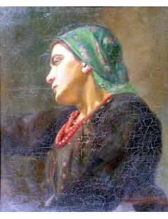 Tytuł: Głowa wieśniaczki, Autor: Kazimierz Pochwalski