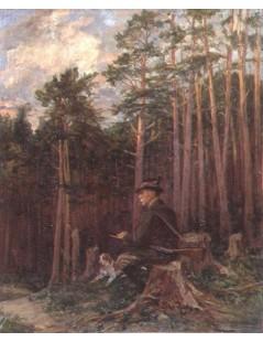 Tytuł: Odpoczynek myśliwego, Autor: Kazimierz Pochwalski