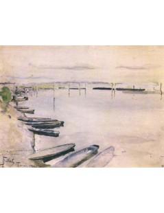 Tytuł: Łodzie przy brzegu Wisły, Autor: Julian Fałat