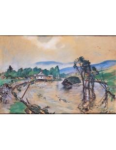 Tytuł: Powódź w Bystrej, Autor: Julian Fałat