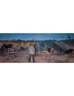 Tytuł: Scena po polowaniu w Nieświeżu, Autor: Julian Fałat