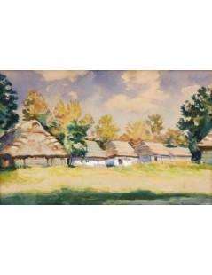 Tytuł: Pejzaż letni z chatami, Autor: Stefan Filipkiewicz