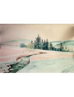 Tytuł: Pejzaż zimowy, Autor: Stefan Filipkiewicz