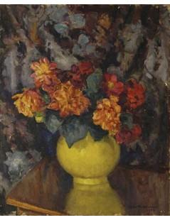 Tytuł: Piwonie w żółtym wazonie, Autor: Stefan Filipkiewicz