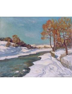 Tytuł: Potok zimą, Autor: Stefan Filipkiewicz