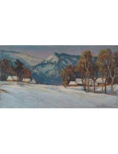 Tytuł: Zimowy pejzaż z gór, Autor: Stefan Filipkiewicz