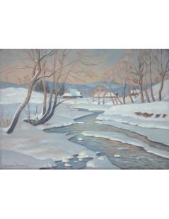 Tytuł: Pejzaż zimowy z Poronina, Autor: Mieczysław  Filipkiewicz
