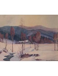 Tytuł: Zimowy pejzaż górski, Autor: Mieczysław  Filipkiewicz