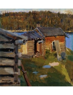 Tytuł: The Ekola Croft in Evening Sunlight, Autor: Akseli Gallen-Kallela