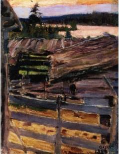 Tytuł: The Ekola Farmyard, Autor: Akseli Gallen-Kallela