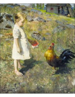 Tytuł: The girl and the rooster, Autor: Akseli Gallen-Kallela