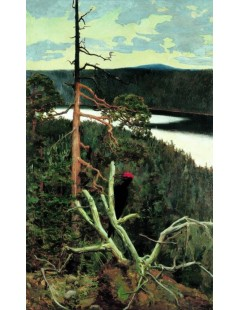 Tytuł: The Great Black Woodpecker, Autor: Akseli Gallen-Kallela