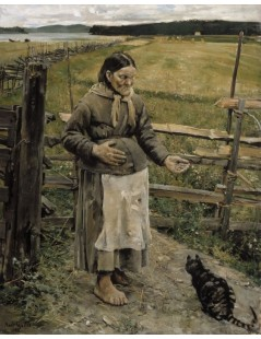 Tytuł: The Old Woman and the Cat, Autor: Akseli Gallen-Kallela