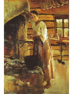 Tytuł: Woman Cooking Vendace, Autor: Akseli Gallen-Kallela