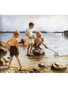 Tytuł: Boys Playing at the Beach, Autor: Albert Edelfelt