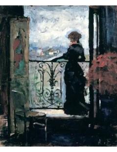 Tytuł: Lady on a Balcony, Autor: Albert Edelfelt