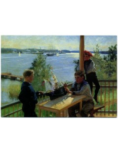 Tytuł: The EklÄ?śf Boys on the Veranda of Villa SjÄ?śkulla, Autor: Albert Edelfelt
