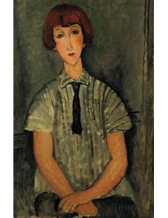 Tytuł: Young Girl in a Striped Blouse, Autor: Amadeo Modigliani