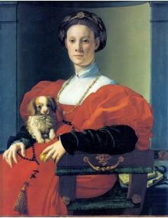 Portrait of a Lady in red with dog
