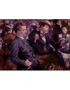Tytuł: At the beer garden, Autor: Adolph Menzel