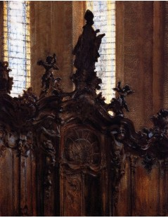 Tytuł: Choirstalls in Mainz Cathedral, Autor: Adolph Menzel