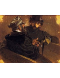 Tytuł: Conversation between Two Voters, Autor: Adolph Menzel