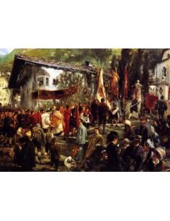 Tytuł: Corpus Christi Procession at Hofgastein, Autor: Adolph Menzel