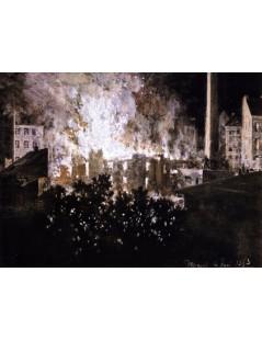 Tytuł: Factory on Fire, Autor: Adolph Menzel