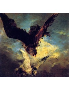 Tytuł: Falcon Swooping on a Dove, Autor: Adolph Menzel