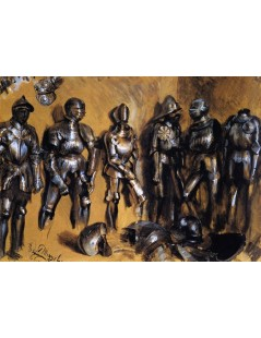Tytuł: Six Suits of Armor Standing against a Wall, Autor: Adolph Menzel