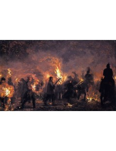 Tytuł: Students Torchlight Procession, Autor: Adolph Menzel