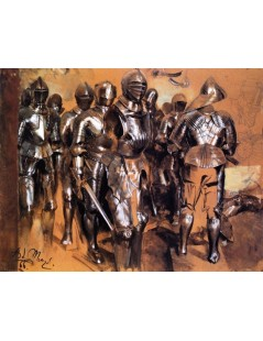 Tytuł: Suits of Armor Standing, Autor: Adolph Menzel