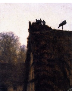 Tytuł: Thatched Roof with Storks Nest, Autor: Adolph Menzel