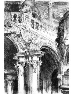 Tytuł: The Great Staircase at the Chateau of Pommersfelden, Autor: Adolph Menzel