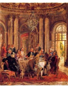 Tytuł: The Round Table of Frederick II at Sanssouci (sketch), Autor: Adolph Menzel