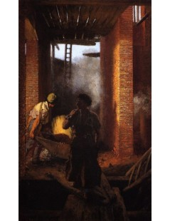 Tytuł: Two Builders at Work, Autor: Adolph Menzel