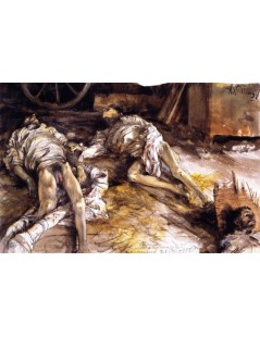 Tytuł: Two Dead Soldiers in a Barn, Autor: Adolph Menzel
