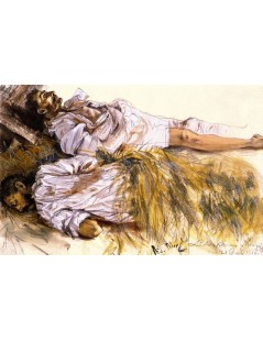 Tytuł: Two Dead Soldiers Laid out on Straw, Autor: Adolph Menzel