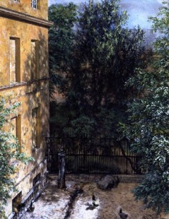 Tytuł: View into a Courtyard, Autor: Adolph Menzel