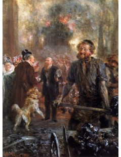 Tytuł: Visit to the Forge, Autor: Adolph Menzel