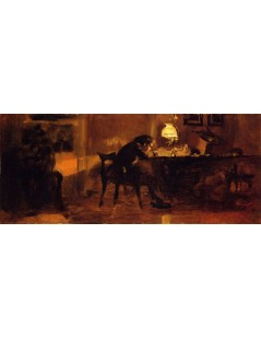 Tytuł: Young Boy Sitting at a Table, Autor: Adolph Menzel