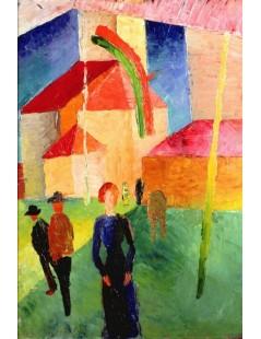 Tytuł: Church Decorated with Flags, Autor: August Macke