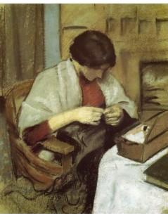 Tytuł: Elizabeth Gerhardt, Sewing, Autor: August Macke